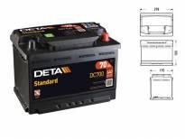 Акумулатор Deta Standard 70Ah 640 A сo десен (+)