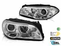 Комплект ксенонови фарове с 3D ангелски очи за BMW серия 5 F10, F11 2010-2013 без AFS, хром основа, ляв и десен