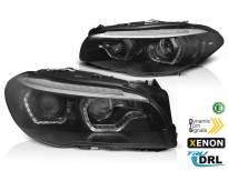 Комплект ксенонови фарове с 3D ангелски очи за BMW серия 5 F10, F11 2010-2013 без AFS, черна основа, ляв и десен