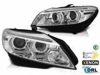 Комплект ксенонови фарове с 3D ангелски очи за BMW Z4 E89 2009-2013 за AFS, хром основа, ляв и десен