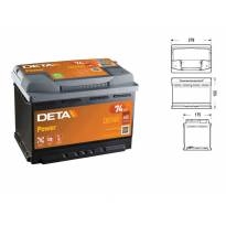 Акумулатор Deta Power 74Ah 680 A сo десен (+)