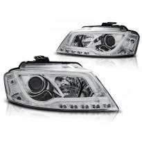 Тунинг фарови с истински DRL светла за Audi A3 8P 2008-2012 3D/5D