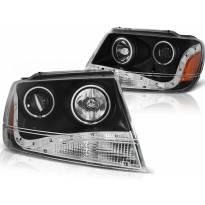 Тунинг фарови с CCFL ангелски очи и LED лента за Chrysler JEEP GRAND CHEROKEE 1999-05.2005